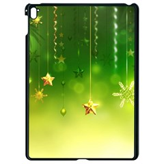 Christmas Green Background Stars Snowflakes Decorative Ornaments Pictures Apple Ipad Pro 9 7   Black Seamless Case