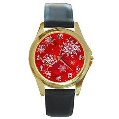 Christmas Pattern Round Gold Metal Watch