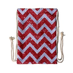 Chevron9 White Marble & Red Glitter Drawstring Bag (small)