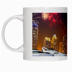 Christmas Night In Dubai Holidays City Skyscrapers At Night The Sky Fireworks Uae White Mugs
