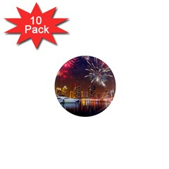 Christmas Night In Dubai Holidays City Skyscrapers At Night The Sky Fireworks Uae 1  Mini Magnet (10 Pack)  by Sapixe