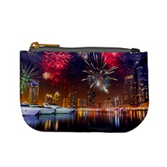 Christmas Night In Dubai Holidays City Skyscrapers At Night The Sky Fireworks Uae Mini Coin Purses