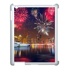Christmas Night In Dubai Holidays City Skyscrapers At Night The Sky Fireworks Uae Apple Ipad 3/4 Case (white) by Sapixe