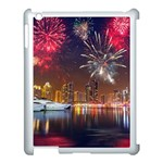 Christmas Night In Dubai Holidays City Skyscrapers At Night The Sky Fireworks Uae Apple iPad 3/4 Case (White) Front