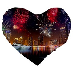 Christmas Night In Dubai Holidays City Skyscrapers At Night The Sky Fireworks Uae Large 19  Premium Flano Heart Shape Cushions by Sapixe