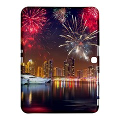 Christmas Night In Dubai Holidays City Skyscrapers At Night The Sky Fireworks Uae Samsung Galaxy Tab 4 (10 1 ) Hardshell Case  by Sapixe
