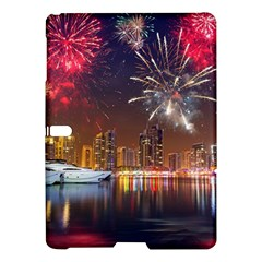 Christmas Night In Dubai Holidays City Skyscrapers At Night The Sky Fireworks Uae Samsung Galaxy Tab S (10 5 ) Hardshell Case