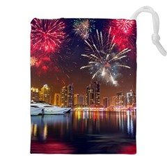 Christmas Night In Dubai Holidays City Skyscrapers At Night The Sky Fireworks Uae Drawstring Pouches (xxl)