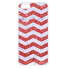 Chevron3 White Marble & Red Glitter Apple Iphone 5 Seamless Case (white) by trendistuff