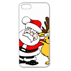 Christmas Santa Claus Apple Seamless Iphone 5 Case (clear)