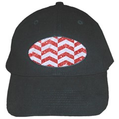 Chevron2 White Marble & Red Glitter Black Cap by trendistuff