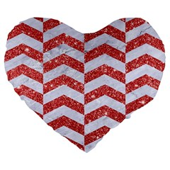 Chevron2 White Marble & Red Glitter Large 19  Premium Heart Shape Cushions by trendistuff