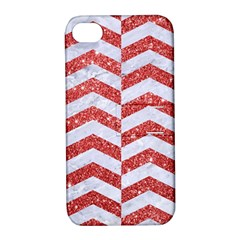 Chevron2 White Marble & Red Glitter Apple Iphone 4/4s Hardshell Case With Stand
