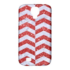 Chevron2 White Marble & Red Glitter Samsung Galaxy S4 Classic Hardshell Case (pc+silicone) by trendistuff
