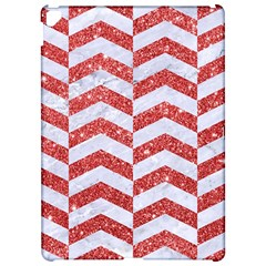 Chevron2 White Marble & Red Glitter Apple Ipad Pro 12 9   Hardshell Case by trendistuff