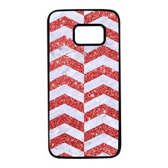 Chevron2 White Marble & Red Glitter Samsung Galaxy S7 Black Seamless Case by trendistuff