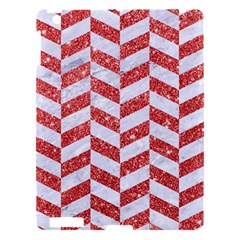 Chevron1 White Marble & Red Glitter Apple Ipad 3/4 Hardshell Case by trendistuff