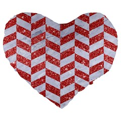 Chevron1 White Marble & Red Glitter Large 19  Premium Flano Heart Shape Cushions by trendistuff