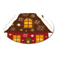 Christmas House Clipart Oval Magnet by Sapixe
