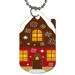 Christmas House Clipart Dog Tag (one Side) by Sapixe