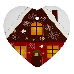 Christmas House Clipart Heart Ornament (two Sides)