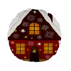 Christmas House Clipart Standard 15  Premium Round Cushions by Sapixe