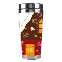 Christmas House Clipart Stainless Steel Travel Tumblers by Sapixe