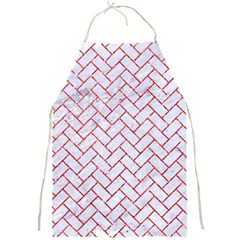 Brick2 White Marble & Red Glitter (r) Full Print Aprons by trendistuff
