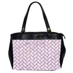 Brick2 White Marble & Red Glitter (r) Office Handbags (2 Sides)  by trendistuff
