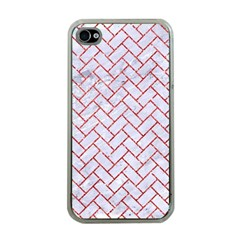 Brick2 White Marble & Red Glitter (r) Apple Iphone 4 Case (clear) by trendistuff