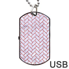 Brick2 White Marble & Red Glitter (r) Dog Tag Usb Flash (two Sides) by trendistuff