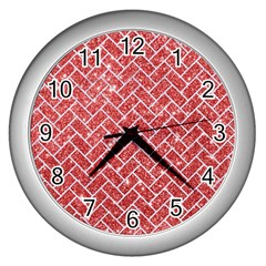 Brick2 White Marble & Red Glitter Wall Clocks (silver)  by trendistuff