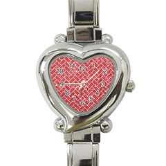 Brick2 White Marble & Red Glitter Heart Italian Charm Watch by trendistuff