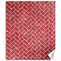 Brick2 White Marble & Red Glitter Canvas 8  X 10  by trendistuff
