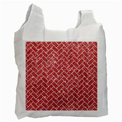 Brick2 White Marble & Red Glitter Recycle Bag (two Side)  by trendistuff