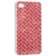 Brick2 White Marble & Red Glitter Apple Iphone 4/4s Seamless Case (white) by trendistuff