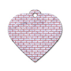 Brick1 White Marble & Red Glitter (r) Dog Tag Heart (one Side) by trendistuff