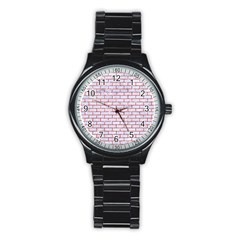 Brick1 White Marble & Red Glitter (r) Stainless Steel Round Watch by trendistuff