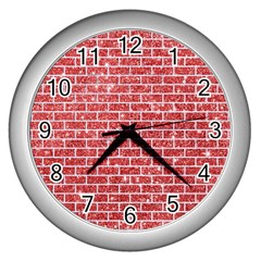 Brick1 White Marble & Red Glitter Wall Clocks (silver)  by trendistuff