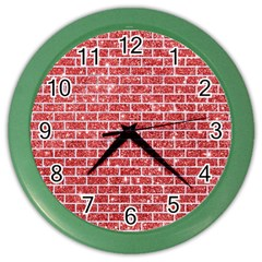 Brick1 White Marble & Red Glitter Color Wall Clocks by trendistuff