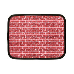Brick1 White Marble & Red Glitter Netbook Case (small)