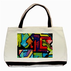 Urban Graffiti Movie Theme Productor Colorful Abstract Arrows Basic Tote Bag by MAGA