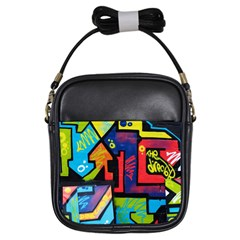Urban Graffiti Movie Theme Productor Colorful Abstract Arrows Girls Sling Bags
