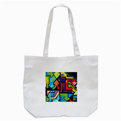 Urban Graffiti Movie Theme Productor Colorful Abstract Arrows Tote Bag (white)
