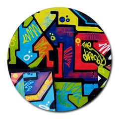 Urban Graffiti Movie Theme Productor Colorful Abstract Arrows Round Mousepads by MAGA