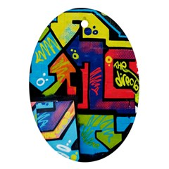 Urban Graffiti Movie Theme Productor Colorful Abstract Arrows Ornament (oval) by MAGA