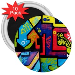 Urban Graffiti Movie Theme Productor Colorful Abstract Arrows 3  Magnets (10 Pack)