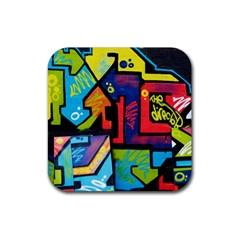 Urban Graffiti Movie Theme Productor Colorful Abstract Arrows Rubber Square Coaster (4 Pack)  by MAGA