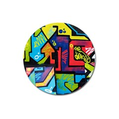 Urban Graffiti Movie Theme Productor Colorful Abstract Arrows Magnet 3  (round) by MAGA