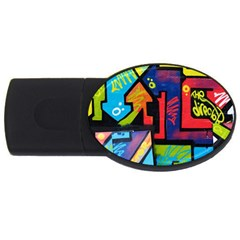 Urban Graffiti Movie Theme Productor Colorful Abstract Arrows Usb Flash Drive Oval (2 Gb) by MAGA